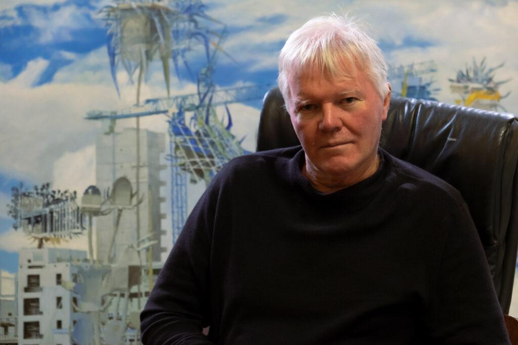 Artist Dave Madigan in his studio
